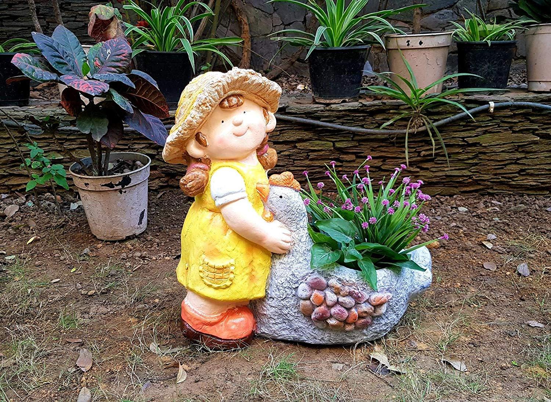 Home Garden House Girl With Duck Pot Planter Planters For Garden Pots And Planters Home Decor Garden Decor Garden Pots For Balcony Decoration Kids Room Gift Home Garden House